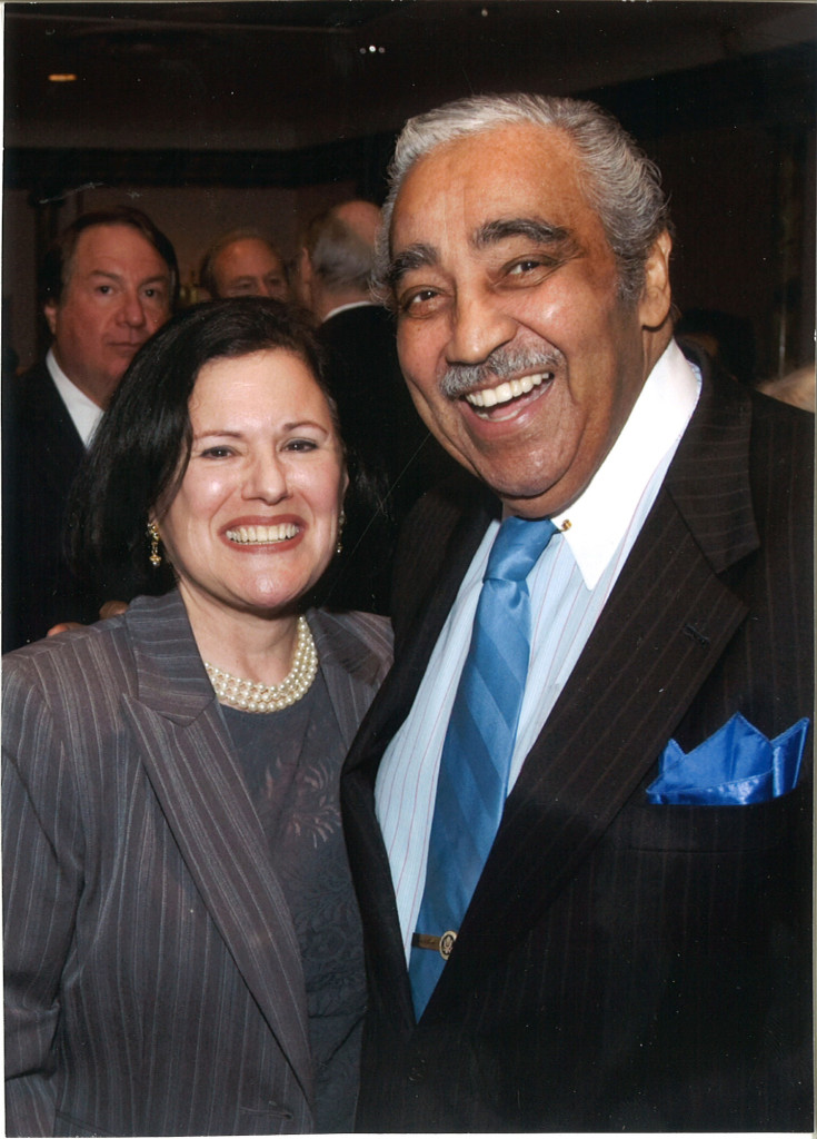 Marcy Syms and Charlie Rangel photo